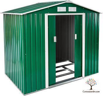 caseta metalica verde de jardin